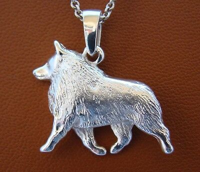 Large Sterling Silver Schipperke Moving Study Pendant