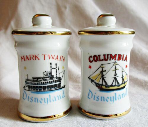 Vintage Disneyland Columbia & Mark Twain porcelain salt & pepper shakers Japan