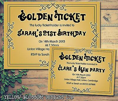 10 Golden Tickets Hen Party Invites Gold Personalised Birthday Party Invitations](Golden Birthday Invitations)