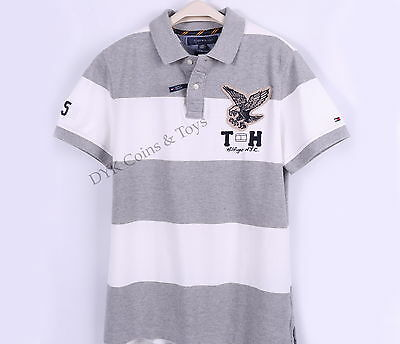 NEW TOMMY HILFIGER MEN EAGLE BAR STRIPE PIQUE MESH RUGBY POLO SHIRT -$0 SHIPPING ()