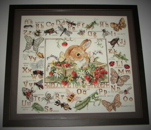 Handmade Framed Welcome To My Garden ABC's Insects Completed Cross Stitch