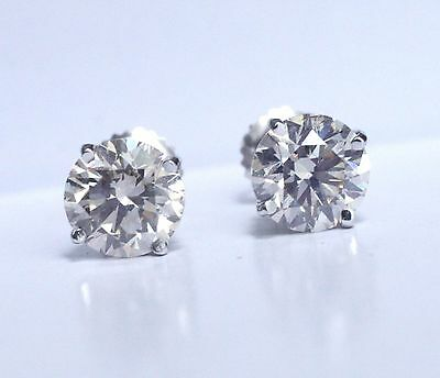 2.00 ct GIA D VS2 excellent cut natural round diamond stud earrings white gold