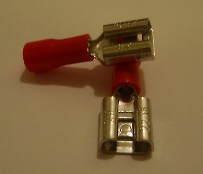 100 Pc Female Spade 14 Wire Crimp Connector .250 Red22-18 Awg Fdd1-250