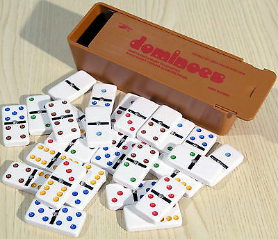 Plastic Travel Sized Double Six Dominoes - Coloured Spots - Spinners - Ref:00109