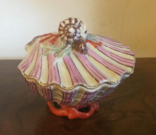 Antique 19th c. Od Paris Porcelain Sea Shell Box Scallop Conch Pink Luster Coral