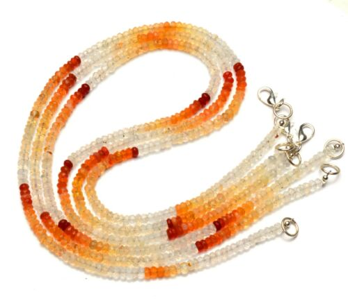 """Mexico Natural Fire Opal Gem Faceted 4mm Size Rondelle Beads Necklace 17.5"""""""