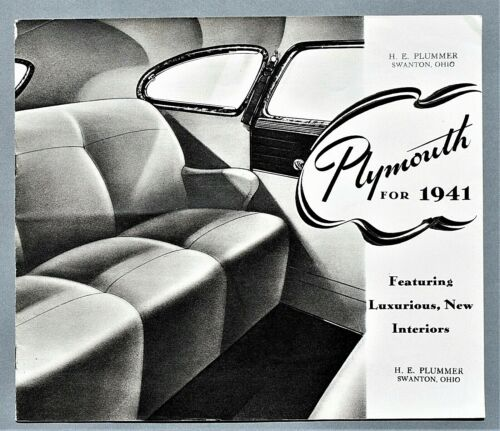 "ORIGINAL 1941 PLYMOUTH DE LUXE DEALER SALES BROCHURE ~ 12 PAGES ~10"" X 8""~ 41PL"