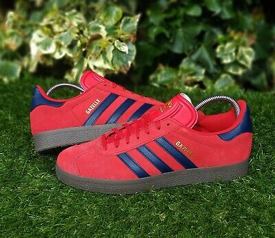 ❤ BNWB & Genuine Adidas Originals ® Gazelle Red Suede & Navy Trainers UK Size 10