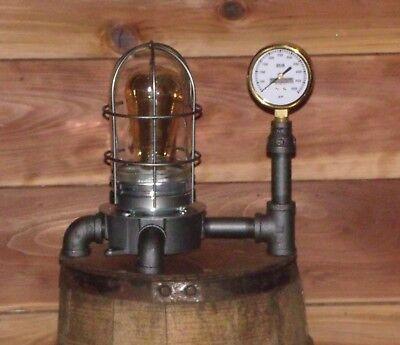 Industrial ~ Steampunk Explosion Proof Desk Lamp w/ Brass Gauge ~ by PLD