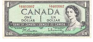 Canadian One Dollar Bill