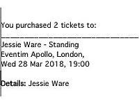 Jessie Ware concert tickets x 2 - Standing - London - Wed 28 March