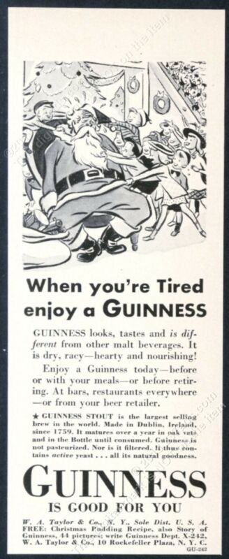1940 Guinness Stout beer Santa Christmas art vintage print ad