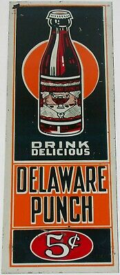 Vintage metal sign DELAWARE PUNCH soda pop door push bottle pictured 5 cents