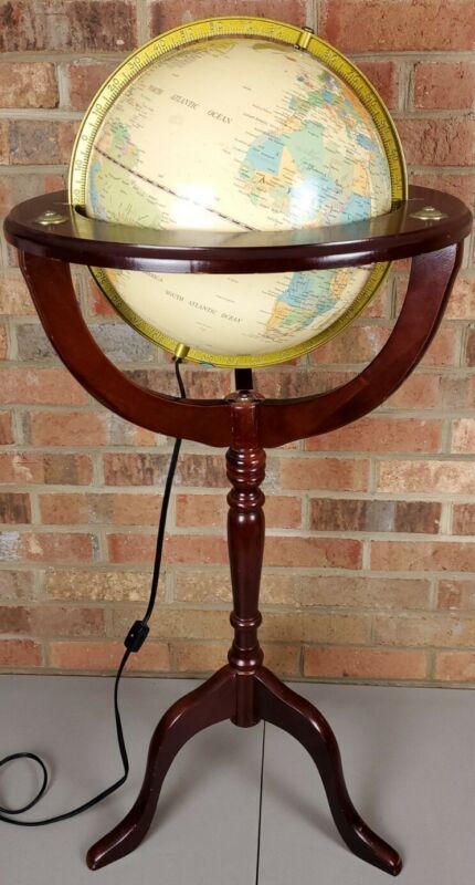 """Illuminated Fucashun Light Up World Globe 12"""" Diameter w/ Cherry Wood Stand"""