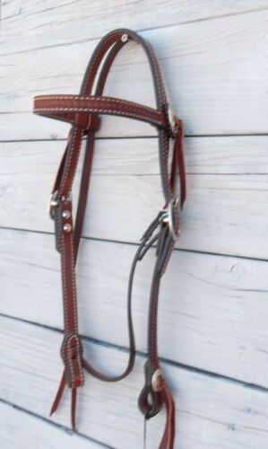 Circle Y Engraved Rope Edge Concho Tooled Browband Headstall 19954
