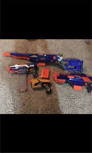 4 nerf guns and accessories
