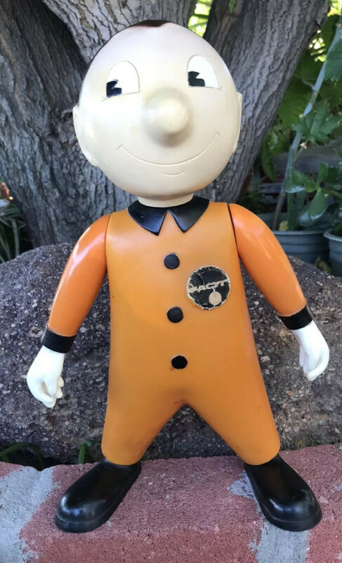 Vintage RARE Collectible FACIT MAN Advertising Figure Character Doll in Orange