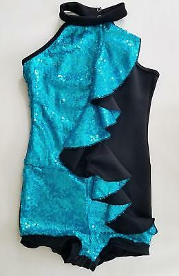 *WEISSMAN* Costume $58 Sequin Flapper Ringmaster HALLOWEEN Teal Black Suit L12