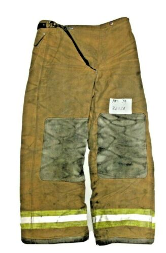 32x30 Globe Brown Firefighter Turnout Pants with Yellow Stripes No Liner PNL-30