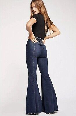 High Float (NEW Free People CRVY Float On Super Flare Jeans Size 31 Lace Up Back High Rise)