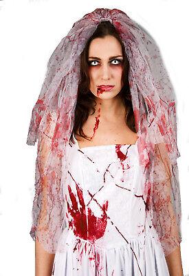 blutverschmierter Brautschleier Schleier Zombie Braut Halloween Grusel Horror ()