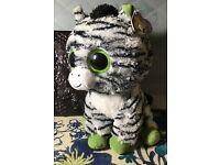 RETIRED TY beanie Baby Babies Boos Boo/'s Zig-Zag the Zebra 6 inch big eyes MWMT