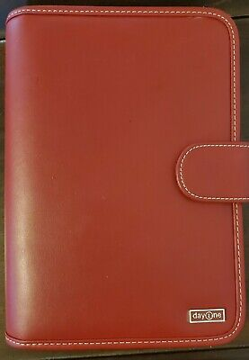 New Red Franklin Covey Day One Planner Organizer Faux Leather 10x2x7 1 Rings
