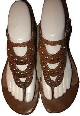 CORSO COMO Brown Leather-Gold Studs-Adj Ankle Strap-Cushion-Solid Back Sandal-8M Adj Back Strap