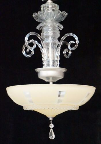 Antique Ornate Glass Art Deco Light Fixture Ceiling Chandelier Semi Flush Prism