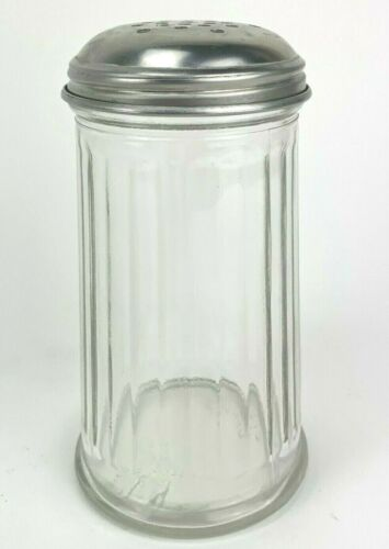 Vintage Gemco Ribbed Glass Restaurant Style Parmesan Cheese Shaker & Lid USA