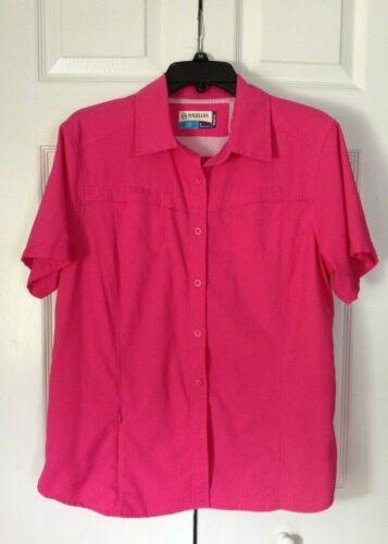 MAGELLAN Outdoors Fish Gear Vented Women's Pink Shirt Sz Large Meg Wick  NEW