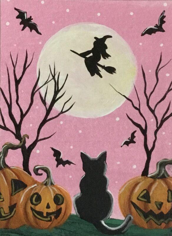 ACEO Original Halloween Mini Acrylic Sketch Card black cat Jack-o