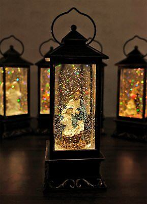 Glitter Globes (Battery Operated Lighted Water Snow Glitter Globe Christians Lantern Decor)