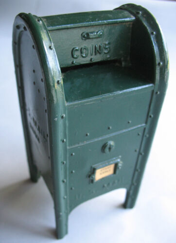 "Vintage Cast Metal ""Start Early"" Mailbox Still Coin Bank w/ Key 5.5"""