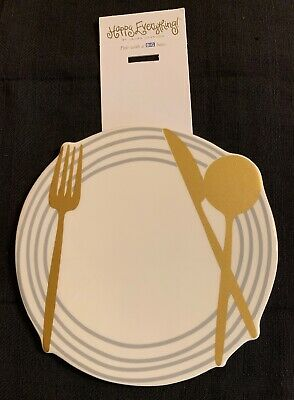 NWT Happy Everything Large Attachment Dinner Plate With Fork Knife Spoon Gold