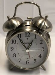 Sharp Quartz Twin Bell Alarm Clock Stainless Steel