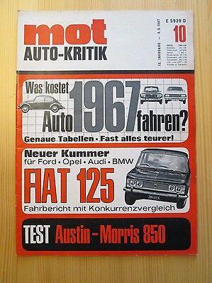 Mot Auto-Kritik 10/1967: Fiat 125, VW 1600 TL, Austin Morris Mini 850