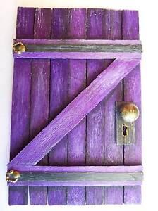 Wooden Fairy Door - Rustic Barn Castle Style - Purple Prestons Liverpool Area Preview