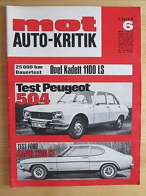 Mot Auto-Kritik Nr. 6/1969, Peugeot 504, Ford Capri 1700 GT/R, Opel Kadett LS