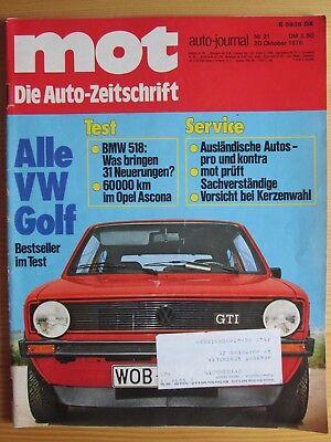 Mot 21/76: VW Golf mit GTI, Opel Ascona, BMW 518, Ford Taunus