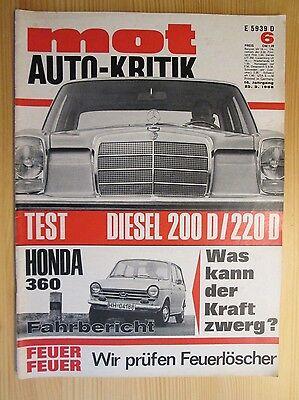 Mot Auto-Kritik Nr.6/1968, Mercedes 200 / 220 D, Honda 360, Fiat 500, 850, Jagst