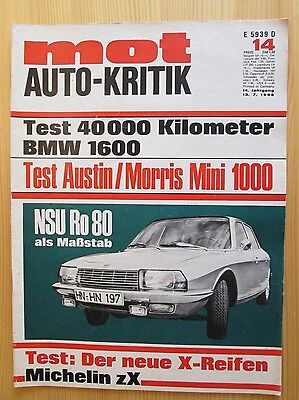 Mot Auto-Kritik Nr.14/1968, NSU Ro 80, BMW 1600, Mini, Citroen Ami 6