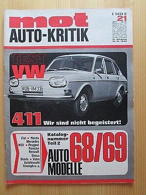 Mot Auto-Kritik 21/1968, VW 411, Fiat 124, BMW 2500 / 2800, Simca 1100 Tourisme