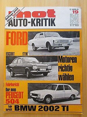 Mot Auto-Kritik Nr.19/1968, Autobianchi Primula, Peugeot 504, BMW 2002 TI, Simca