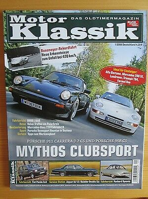 Motor Klassik 1/08: Porsche 911 CS, 968 CS, VW Golf GTI, BMW 2800, Fiat Panda