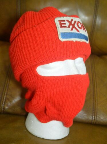 Vintage Exxon Oil Gas Company Logo Winter Beanie Balaclava Knit Hat Red