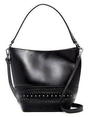 Lucky Brand Addie Bucket Bag Boho Leather Embossed Studded Crossbody Black
