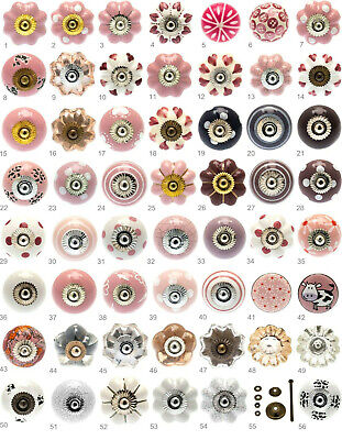 Pink, white and purple ceramic door knobs drawer pulls cupboard cabinet pulls