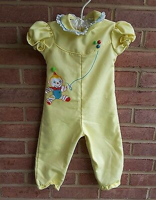 Vintage One Piece Baby Romper short sleeves Yellow Clowns Thomas 18 mos USA made