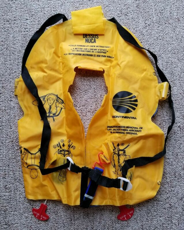 VTG 1993 Continental Airlines Inflatable Lighted Childs Life preserver Unused